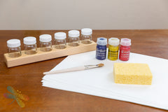 Basic Stockmar Watercolour Paint Set with Paint Brush, Sponge, Paint Jar Holders and Wet on Wet Paper, dragonfly toys