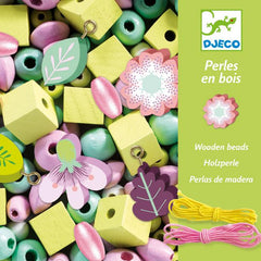 Wooden Beads with Leaves and Flowers by Djeco,Dragonflytoys