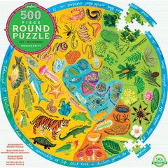 Biodiversity 500 Piece Round Puzzle by Eeboo, Dragonflytoys