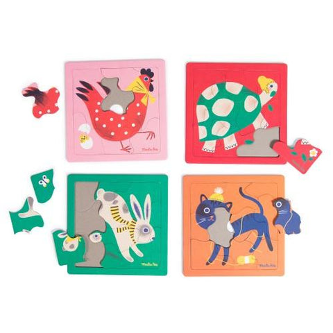 Les Bambins 4 Animal Puzzle Collection