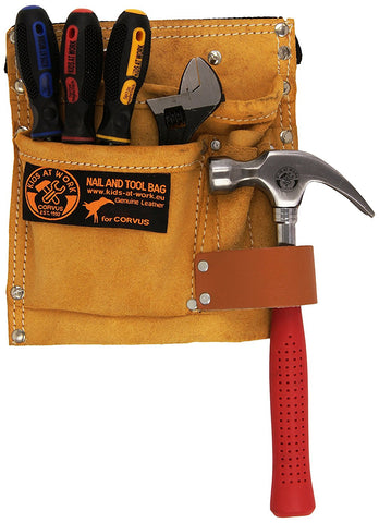 Carpenter Leather Tool Belt with Tools by Kids at Work, dragonfly toys