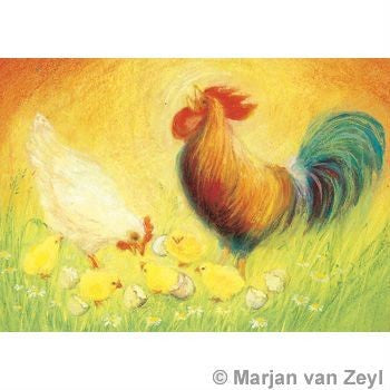 Chickens and Rooster Spring Card