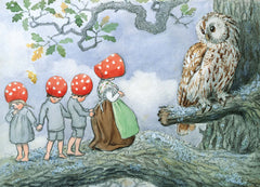 Children of the Forest with Owl Postcard
