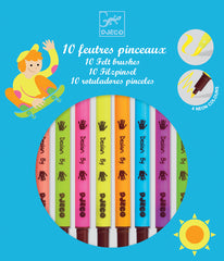 10 Felt Tip Brush Pens Pop Colours by Djeco, Dragonflytoys