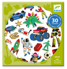 Retro Toys Puffy Stickers 30 Pieces by Djeco, Dragonflytoys