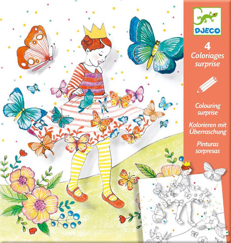 Colouring Sheets Lady Butterfly Surprises