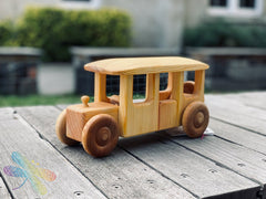 Omnibus, bus, debresk, wooden toy, made in sweden, dragonfly toys