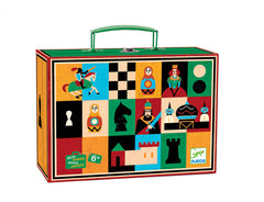 Suitcase wooden chess and draughts game