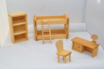Dolls House Furniture - Children's Bedroom Furniture Set by Drei Blatter