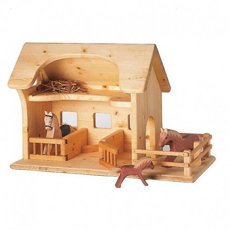 waldorf wooden stable farm set by drei blatter dragonfly toys. Black Bedroom Furniture Sets. Home Design Ideas