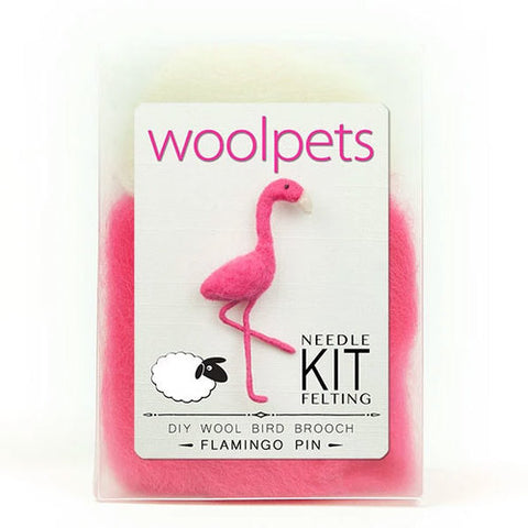 Woolpets Flamingo Pin/Brooch Needle Felting Kit,Dragonflytoys