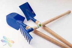 Kids Garden set, spade, rake and shovel, gluckskafer, dragonfly toys
