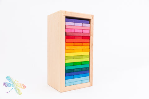 Building Slats 'Tower In A Box' Coloured 60 Parts by Gluckskafer Building Set Colour Wheel Puzzle Pastel New Grimms 2019, Dragonfly toys