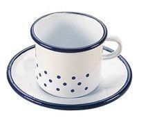 Gluckskafer Enamel Cup and Saucer