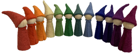 Goether Rainbow Felt Wooden Gnomes by Papoose