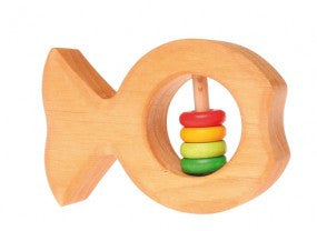 Grimm's Wooden Fish Rattle with Beads