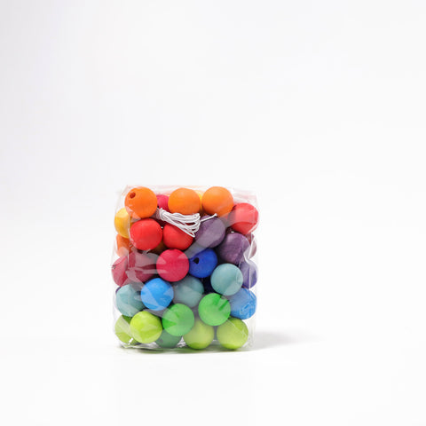 Grimms Rainbow Wooden Beads 20mm x 60 Beads, Dragonflytoys