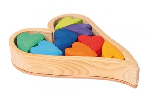 Grimms Wooden Heart Blocks Rainbow