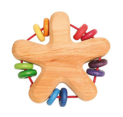 Wooden Grimms Rainbow Star Rattle