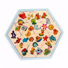Hexagon wooden puzzle for kinderkids