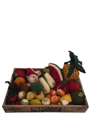 Large Felt Fruit Play Set with Wooden Tray