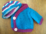 Small Doll Knitted Jacket and Beanie
