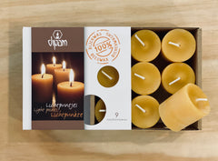 Pure Beeswax Dipam Tealights Box of 9. 8+ hour burn time, Dragonfly Toys