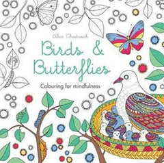 Birds and butterflies colouring book.