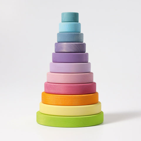 Grimms Large Conical Pastel Stacking Tower, Dragonflytoys