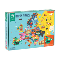 Geography Map of Europe Puzzle (70 Pieces) by Mudpuppy, Dragonflytoys
