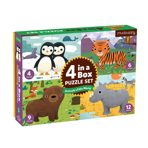 4 in a Box Animals of the World Puzzle 12 Pieces by Mudpuppy, Dragonflytoys