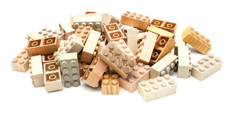 Wooden Lego Blocks  60 Pieces - Mokulock