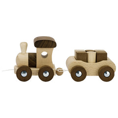 Natural Wooden Train with 6 blocks by Goki
