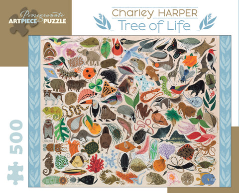 500 Piece Charley Harper Tree of Life Puzzle by Pomegranate, Dragonflytoys