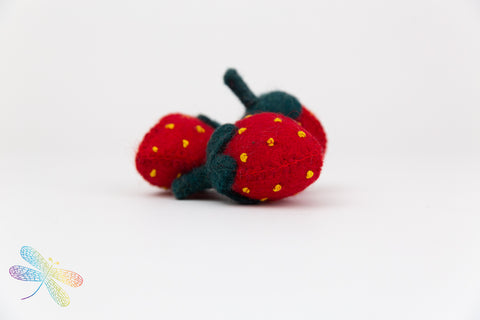 Strawberry Felt Play Food by Papoose, Dragonfly toys