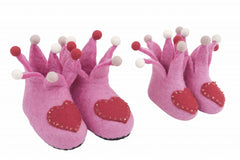 Princess Pink Wool Felt Slippers