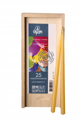 Pure Beeswax Birthday Candles in Wooden Box