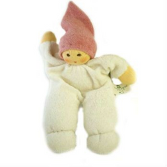 Nanchen Organic Small Doll with Rattle. Pink Hat 18cm