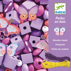 Wooden Beads with Butterflies by Djeco