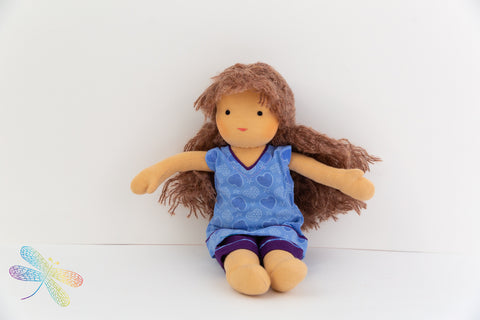 Small Steiner Doll- Girl with auburn curly hair, Dragonflytoys