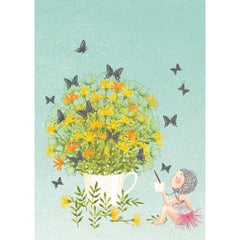 Greeting Card - Flower Mug Girl