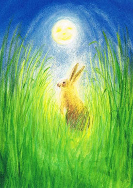 The Hare and the Moon Easter Postcard by Marjan Van Zeyls