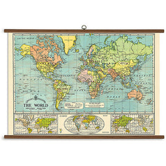 Vintage World Map Chart by Cavallini