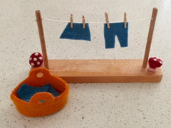 Washing Line Set with Felt Clothes and Clothes Basket