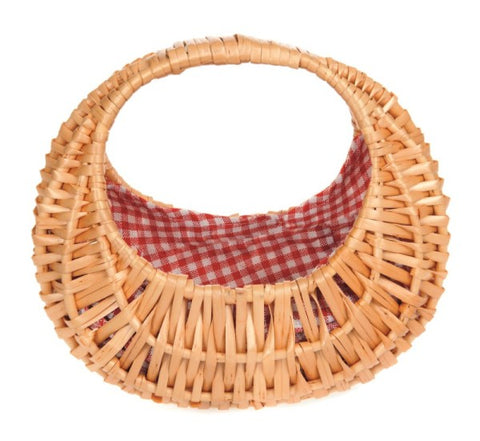 Oval Basket with Red Gingham Lining