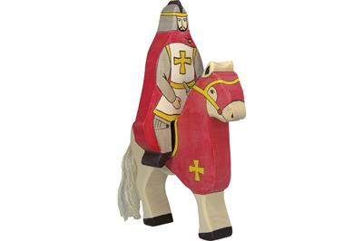 Wooden Knight with Red Cloak Riding Holztiger, Dragonfly Toys