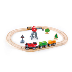 Cargo Delivery Loop Wooden Railway Train Set by Hape, dragonflytoys