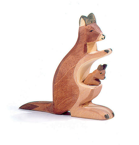 Wooden Kangaroo with Baby Joey (2062) - Ostheimer