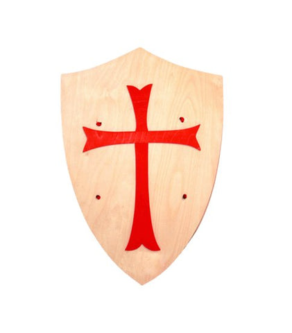 Wooden Shield with a Red Cross