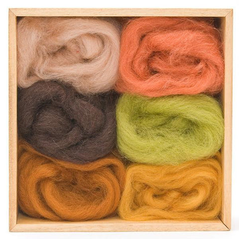Wool Roving Earth Colours Pack